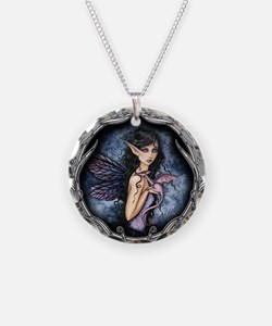 Gothic Fairy and Dragon Fantasy Art Necklace