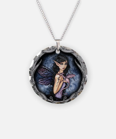 Gothic Fairy and Dragon Fantasy Art Necklace Circl