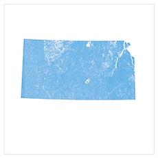 Vintage Grunge Baby Blue Blue Wall Art Poster