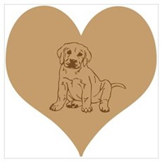 Brown Lab Puppy and Heart. Wall Art Poster