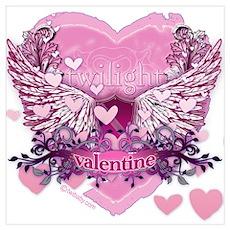 Twilight Valentine Heart Wings Wall Art Poster