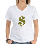 Dollar Sign Women's V-Neck T-Shirt