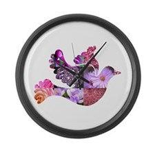 Pink Dove Flying Large Wall Clock