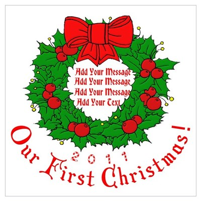 Our 1st X'mas Add Your Text Wall Art Poster