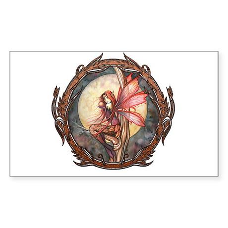 Autumn Red Gothic Fairy Art Sticker (Rectangle)
