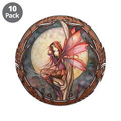 "Autumn Red Gothic Fairy Art 3.5"" Button (10 pack)"