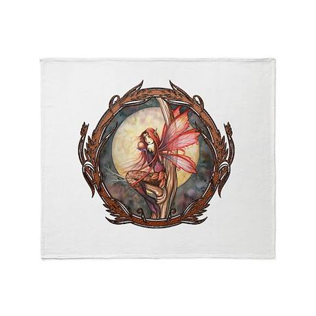 Autumn Red Gothic Fairy Art Throw Blanket