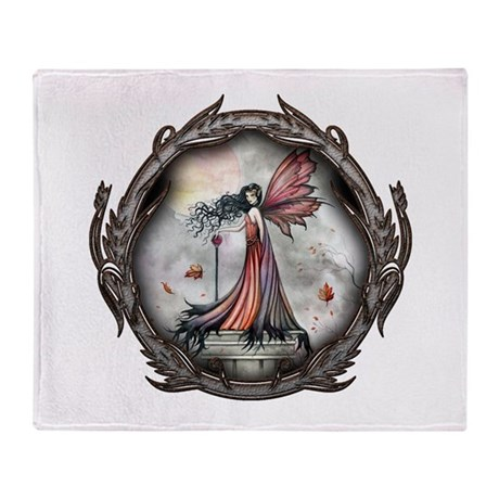 Autumn Winds Gothic Fairy Fan Throw Blanket