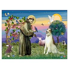 St Francis & Borzoi Wall Art Poster