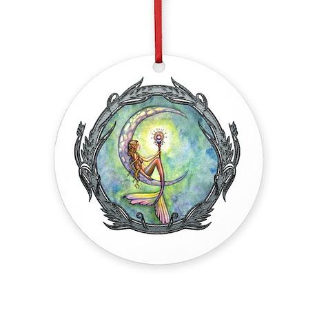 Mermaid Moon Fantasy Art Ornament (Round)