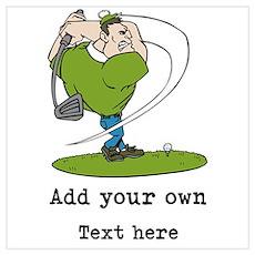 Golf Cartoon, Custom Text Wall Art Poster