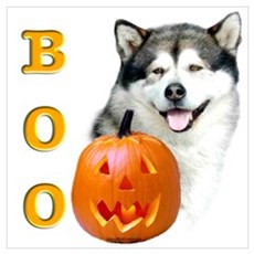 Halloween Malamute Boo Wall Art Poster