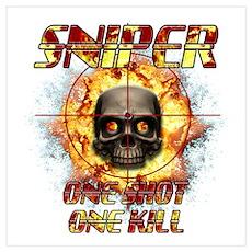 Sniper Skull One Shot One Kil Wall Art Poster