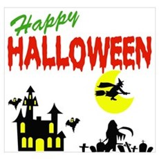 Halloween Haunted House Wall Art Poster