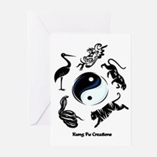 5 animal Kung Fu logo Greeting Cards (Pk of 10