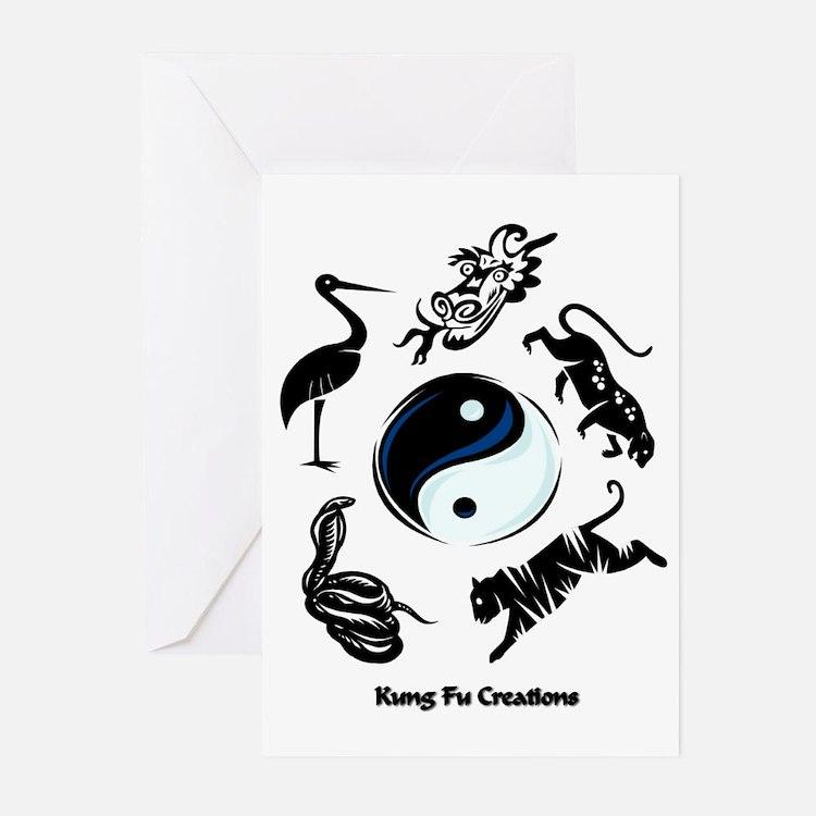 5 animal Kung Fu logo Greeting Cards (Pk of 10