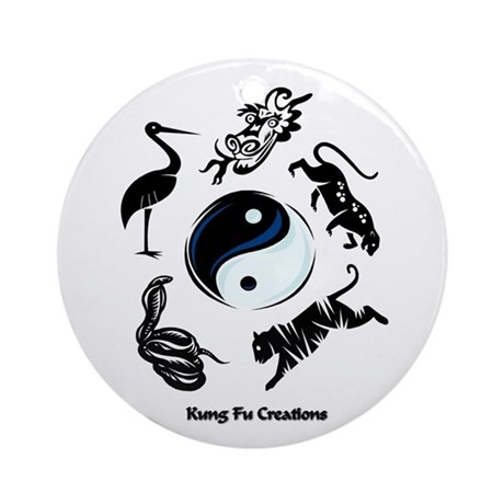 5 animal Kung Fu logo Ornament (Round)