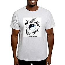 5 animal Kung Fu logo Ash Grey T-Shirt