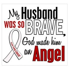 Angel 1 HUSBAND Lung Cancer Wall Art Framed Print