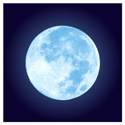 Blue Full Moon Wall Art Canvas Art