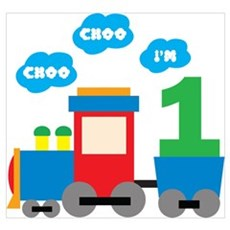 Train 1st Birthday Wall Art Poster