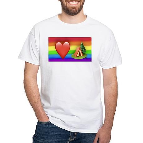 LOVE CMPING gay rainbow art T-Shirt
