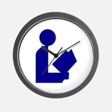 Blue Tinfoil Library Logo Wall Clock