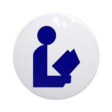 Blue Tinfoil Library Logo Ornament (Round)