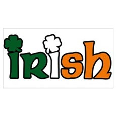 Irish Tri-color with Shamrocks Wall Art Poster