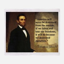 Abe Lincoln Quote Throw Blanket