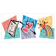 Love Heart Card Rainbow Wall Art Poster