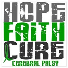 HOPE FAITH CURE Cerebral Palsy Wall Art Canvas Art