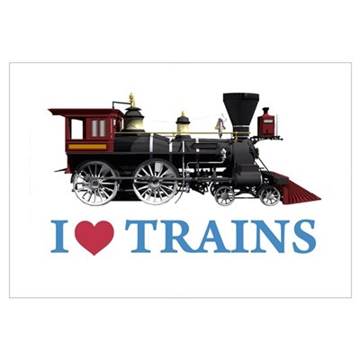 I LOVE TRAINS Wall Art Poster