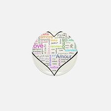 Heart Love in different langu Mini Button