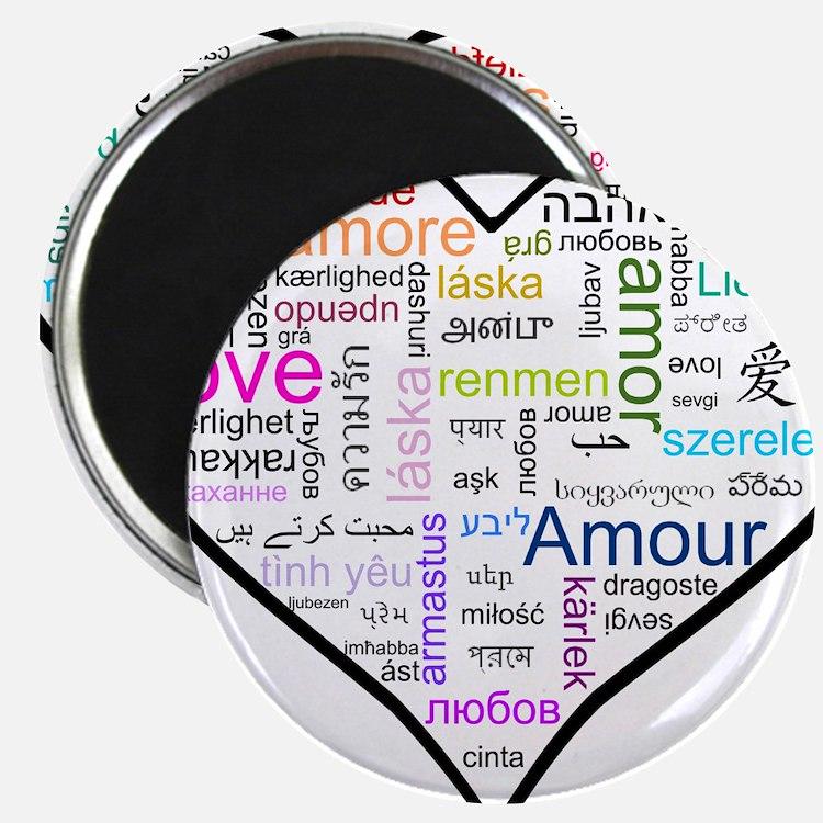Heart Love in different langu Magnet