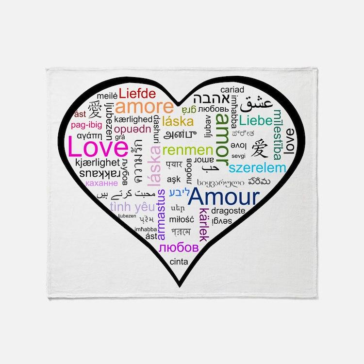 Heart Love in different langu Throw Blanket