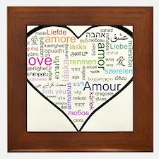 Heart Love in different langu Framed Tile