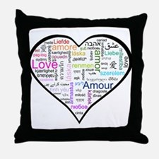 Heart Love in different langu Throw Pillow
