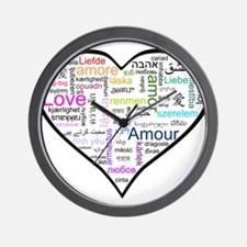 Heart Love in different langu Wall Clock