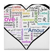 Heart Love in different langu Tile Coaster