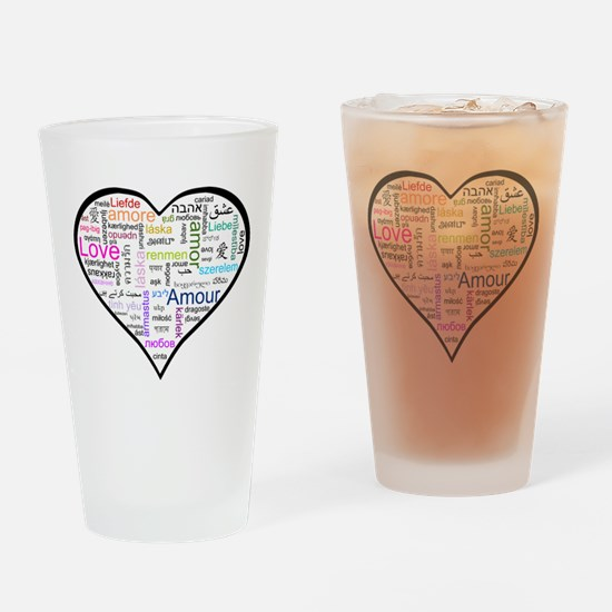 Heart Love in different langu Drinking Glass