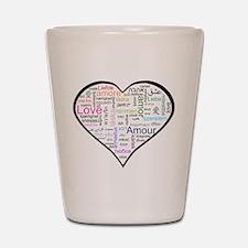 Heart Love in different langu Shot Glass