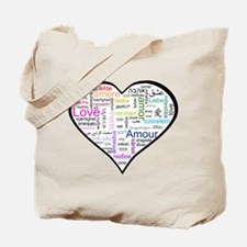 Heart Love in different langu Tote Bag