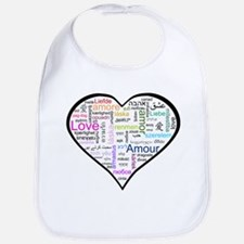 Heart Love in different langu Bib
