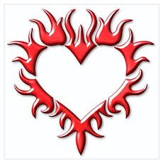 Tribal Heart (Red 3D) Wall Art Poster
