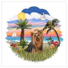 Palm Trees / Yorkie #7 Wall Art Poster