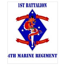 1st Battalion - 4th Marines with Text Mini Poster Framed Print