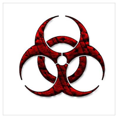 Red Bio-Hazard Design Wall Art Poster