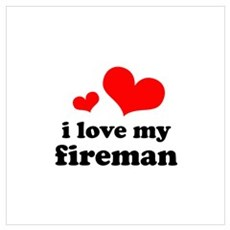 i love my fireman (red/black) Wall Art Poster