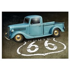 Route 66 Farm Truck Wall Art Poster